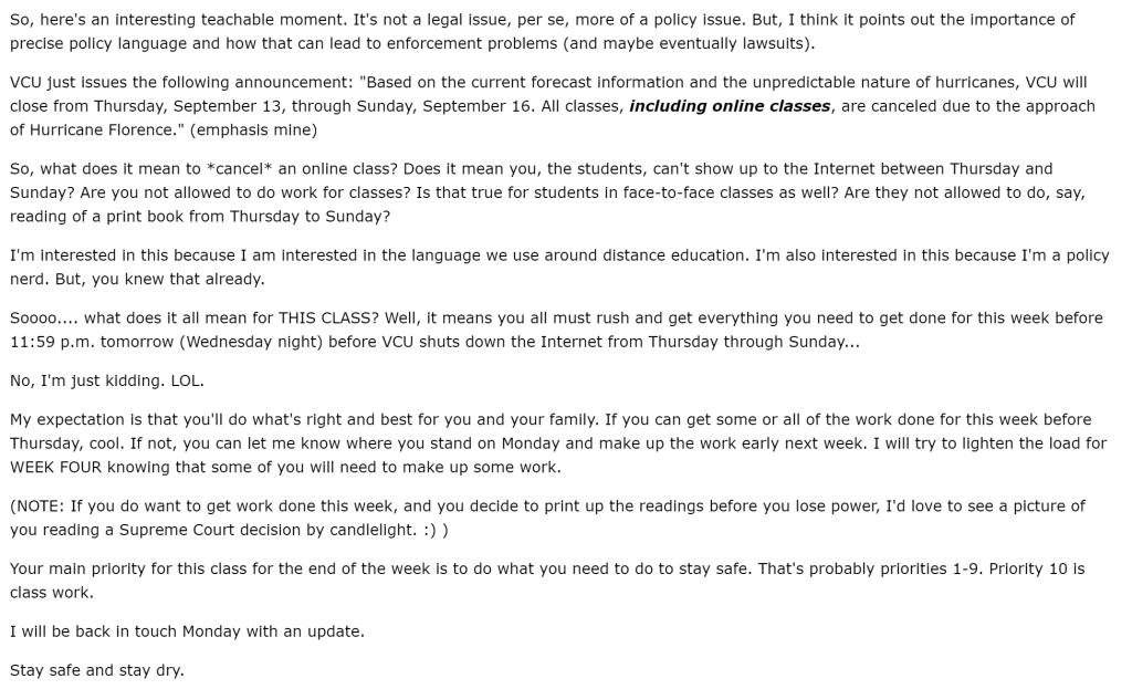 """Canceling"""" online classes – Jonathan D  Becker, J D , Ph D"""